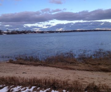 Walk down to small, private beach on Town Cove.  100' of frontage.  Ocean inlet.