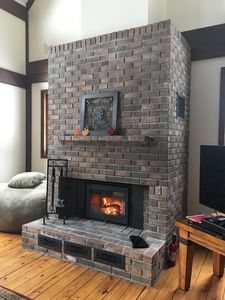 Our Brand New Wood-Burning Fireplace (Logs for Evening Fires Provided)