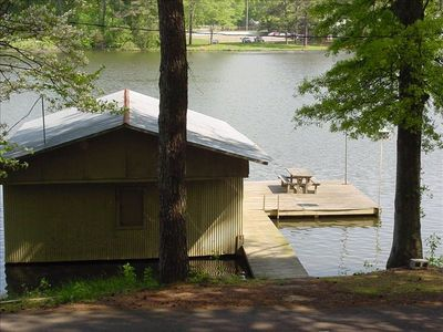 View from Cabin of Private Boathouse and Dock