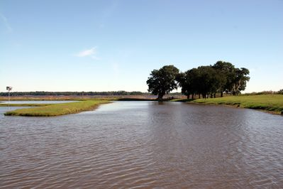 """Panoramic view of Winyah Bay and the """"H Pond"""" from the porch and deck."""