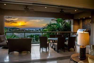 Gorgeous sunset view from living room and upper lanai
