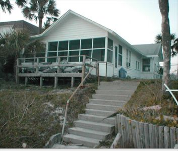 View from the beach side of house, at stair landing.