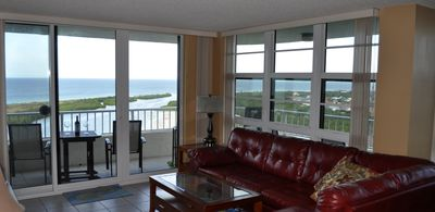 Beautiful ocean view from inside the condo.