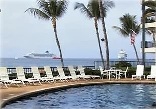 Our Oceanfront Pool with Cruise Ships off shore
