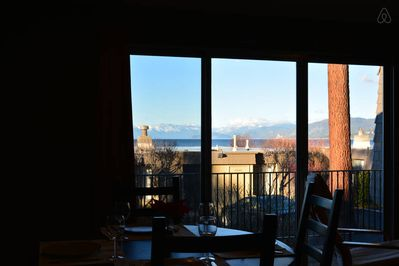 Dining room table and view of mountains