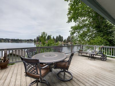 Photo for Lakefront house w/ private dock, firepit & sunset views - dogs welcome!