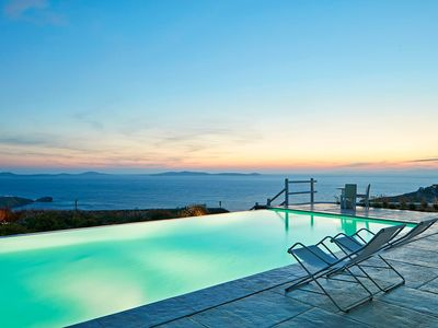 Photo for Villa Excelsior Mykonos, 4 BR 4 BATHR up to 8 Guests, a newly built luxury villa with stunning sunset over its private pool !