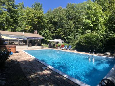 Heated pool, Hot Springs jacuzzi, BBQ, lounging area