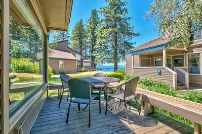 Dine inside or outside with views of the lake. Take a stroll to play, eat, or BBQ right on the private beach.