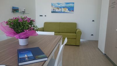 Photo for At 260 meters from the beach, new apt with veranda overlooking the sea and services (IUN P7111)