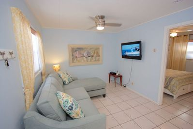Enjoy a movie on the Flat Screen TV and relax in this Spacious Living Area and Queen Sleeper Sofa