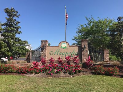 we are located in the Magnolia Pointe community inside Myrtle Wood .