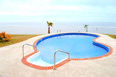 Newly re-done pool with beautiful views of the Gulf! Come Relax!