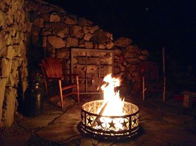 Relax at night with a warm bonfire.