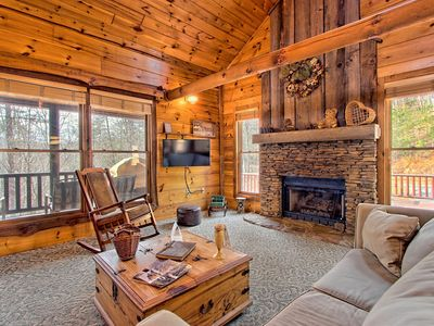 Photo for Picture-perfect cabin with private hot tub, deck space, fireplace, and more