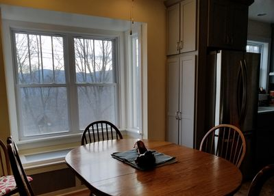 Winter Views. Law office in replica of the train station is our closest neighbor