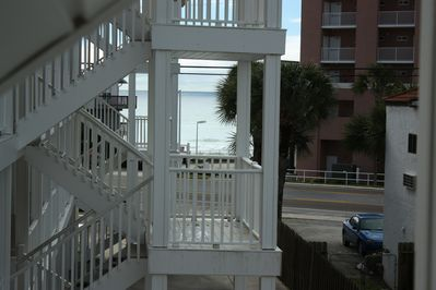 Ocean view from front door. Just steps to the sand!