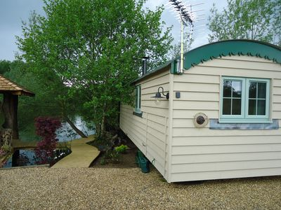 Photo for Red Snapper Luxury hand built shepherds hut with hot tub adults only site.