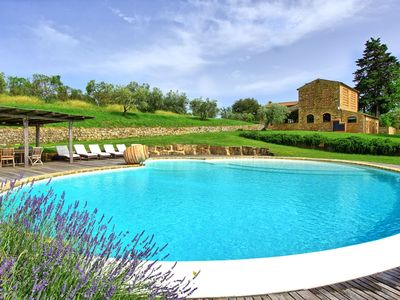 Photo for Stunning private villa with private pool, WIFI, A/C, hot tub, TV, patio, close to San Gimignano