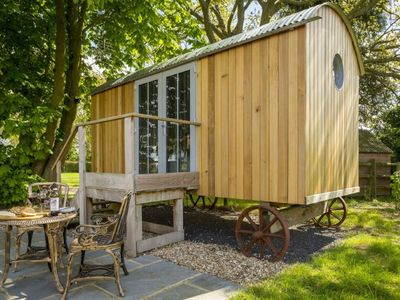 Photo for Cedar Tree is a compact yet luxurious shepherd's hut for couples overlooking the North Wessex Downs.