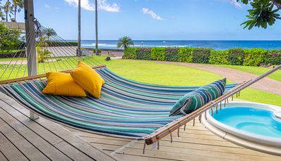 Koa Cottage Hammock off Front Deck with Hot Tub
