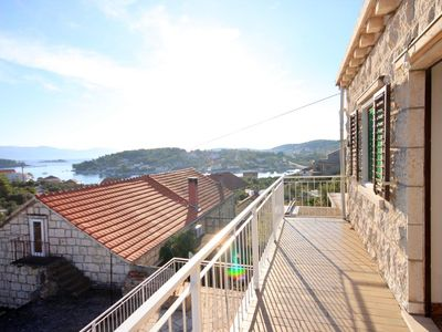 Photo for Two bedroom apartment with balcony and sea view Lumbarda, Korčula (A-9329-a)