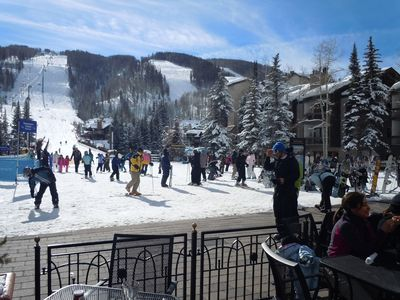Crowd at bottom of Gondola and Chair# 8- Only a 1-2 min. walk away from condo