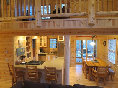 View of extended loft above main living area.