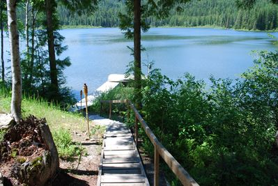 Your dock and boat are steps from the cabin.