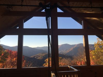 Photo for Secluded mountain cabin 5 acres , all rooms with view,  hear soothing waterfall
