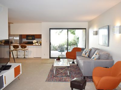Photo for Modern retreat! Half a block to El Paseo -50 steps to pools. Best Desert Living