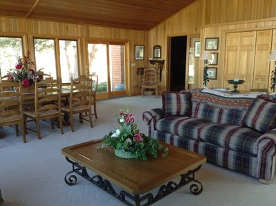 A 30' x 30' sun room provides comfort and striking views of the property.