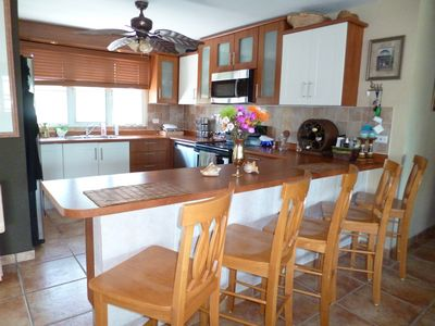 Kitchen countertop for breakfast and informal dining.