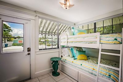 The front cottage has a bunk bed for kids.