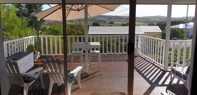 relax on the spacious deck