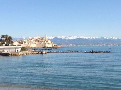 Photo for Beachfront in Antibes, feet in the water