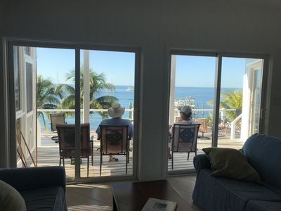 View of the porch, deck and Sea of Abaco from the den