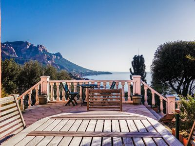 Photo for Panoramic sea view villa in the red rocks of Estérel with beach walk