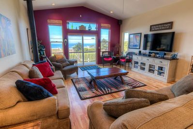Watch the waves from the comfy living area.