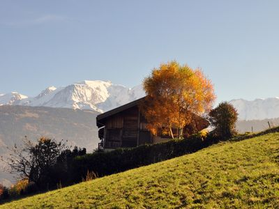 Photo for Panoramic chalet in front of the Mont Blanc (Combloux Megeve Domancy)
