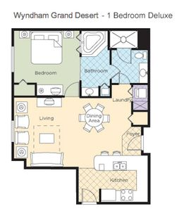 1B Floor Plan with Full Kitchen and Private Bedroom and Living Room