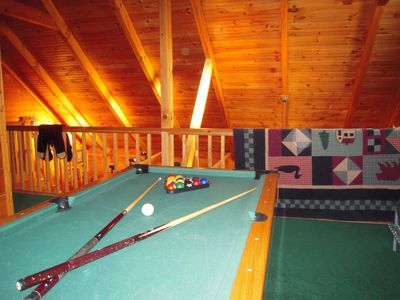 Pool anyone! The game loft has pool table, futon and video library for your use.