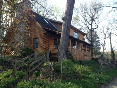Photo for Dog-Friendly Log Home On Fox River IL Near Starved Rock, Porch, Deck, Firepit