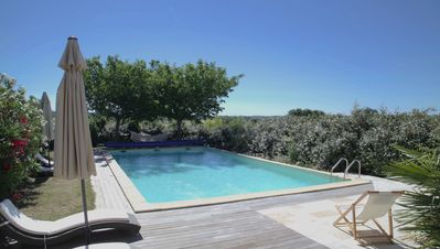 Photo for Luxury cottage in wine estate in Uzès, heated pool, very large garden