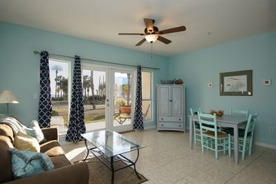 Living/Dining area with gulf view.