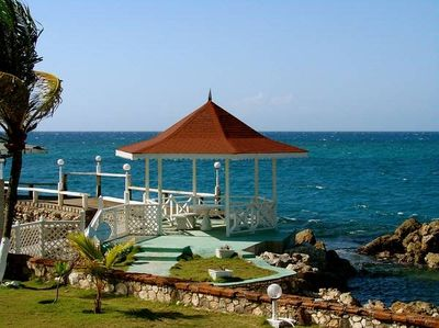 Gazebo on left side of private beach