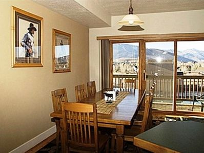 Dining Area, Kitchen & Main Living Room with Vast Mt. Views of the Rockies + FP