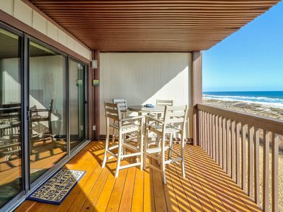 Photo for Oceanfront Condo with large covered deck, elevator and pool!