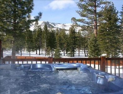 Enjoy a glass of wine in your jacuzzi and watch the sunset over the mountains.