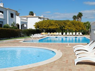 Photo for Luxury 2-bed apartment, large balcony overlooking shared gardens, pool and sea